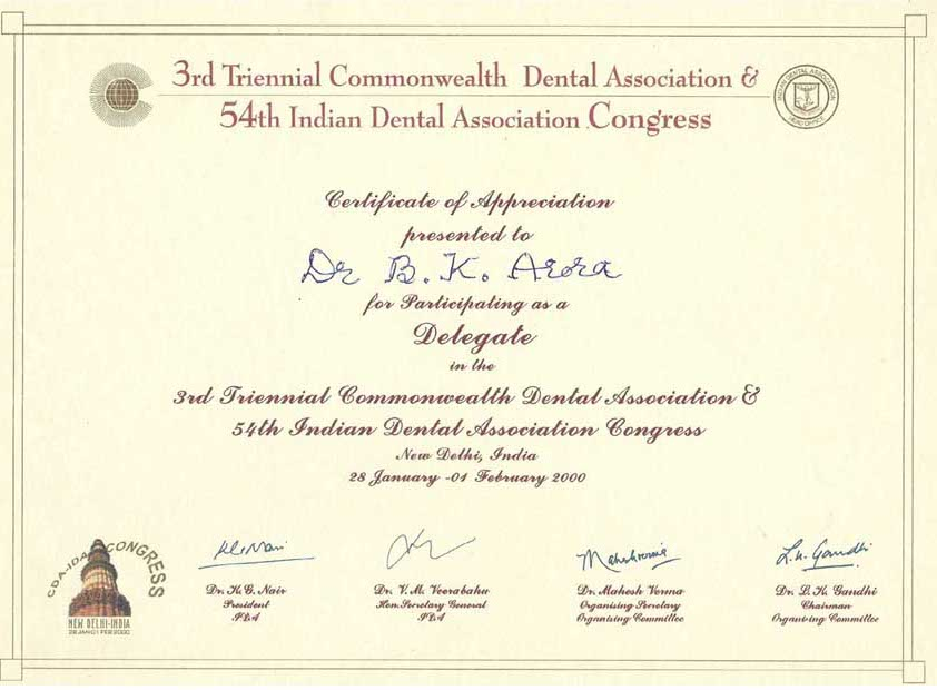 American Dental Association USA Amercan Academy Of Cosmetic DentistryAlso A Life Member Indian We Always In Touched With Latest